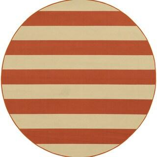 Indoor/ Outdoor Stripe Rug (7'10X7'10)