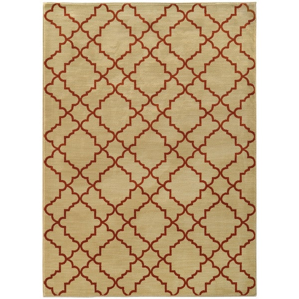 "Scalloped Lattice Beige/ Rust Rug (1'10X3'3) - 1'10"" x 3'3"""