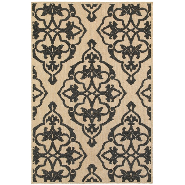 """Mixed Pile Medallion Sand/ Charcoal Indoor-Outdoor Area Rug - 1'10"""" x 3'3"""""""