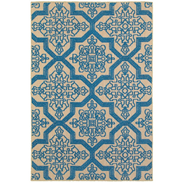 "Mixed Pile Medallion Sand/ Blue Indoor-Outdoor Area Rug - 1'10"" x 3'3"""
