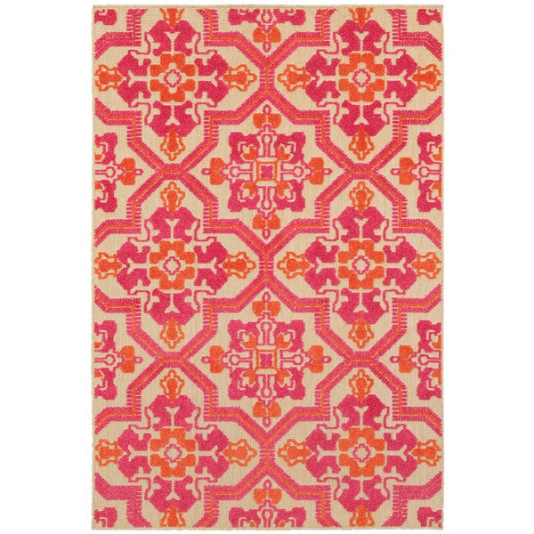 """Mixed Pile Medallion Sand/ Pink Indoor-Outdoor Area Rug - 1'10"""" x 3'3"""""""