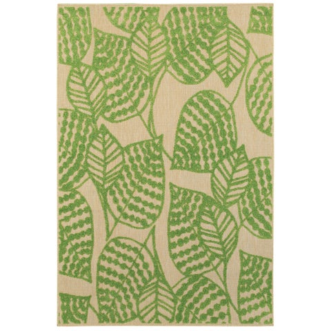 "Mixed Pile Botanical Sand/ Green Indoor-Outdoor Area Rug - 1'10"" x 3'3"""