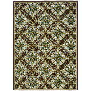 "Inspired Floral Indoor-Outdoor Brown/Ivory Rug (1'9 X 3'9) - 1'9"" x 3'9"""
