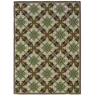Inspired Floral Indoor-Outdoor Brown/Ivory Rug (2'5 X 4'5)