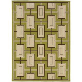 Block-work Indoor-Outdoor Green/Ivory Rug (1'9 X 3'9)