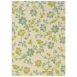 Le Jardin Indoor-Outdoor Ivory/Green Rug (2'5 X 4'5)