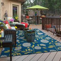 """Bold Blooms Indoor-Outdoor Blue/Green Rug (2'5 X 4'5) - 2'5"""" x 4'5"""""""
