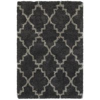 "Quatrafoil Lattice Charcoal/ Grey Shag Rug (1'10 X 3'3) - 1'10"" x 3'3"""