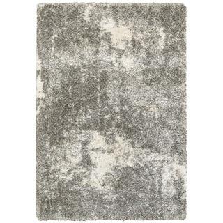 """Strick & Bolton Vesely Granite Light Grey/ Ivory Shag Rug - 1'10"""" x 3'3"""""""