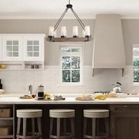 LNC Wood Chandeliers Kitchen Island Chandelier Lighting 8-light Pendant Lights