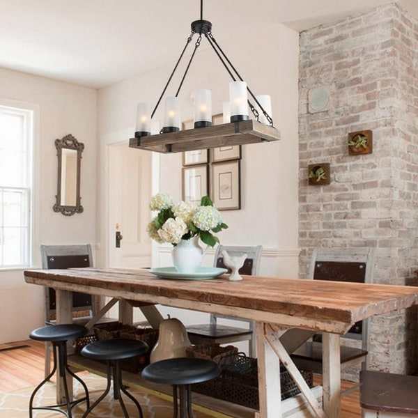 Shop Rustic Linear Kitchen Island Wood Chandelier