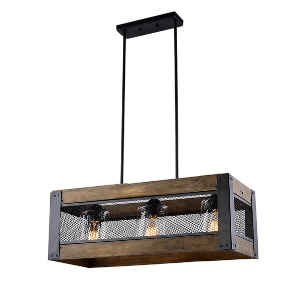 Shop LNC 3-light Wood Kitchen Island Lighting Hanging