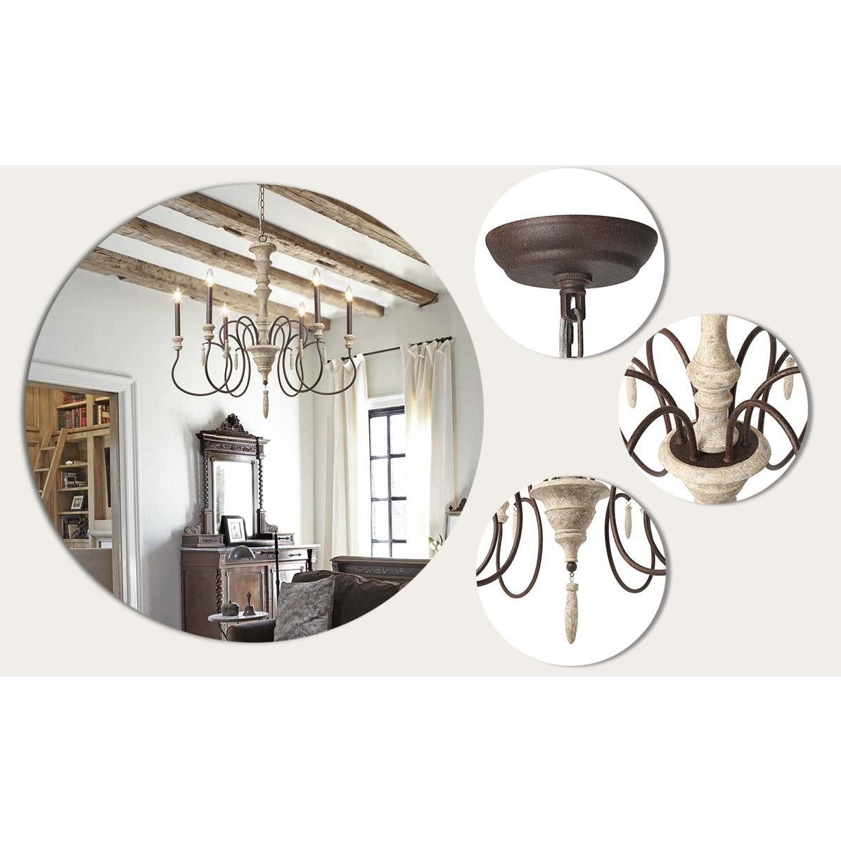 Lnc 6 Light Shabby Chic French Country Wooden Chandelier Lighting Rustic Chandeliers Pendant Lights