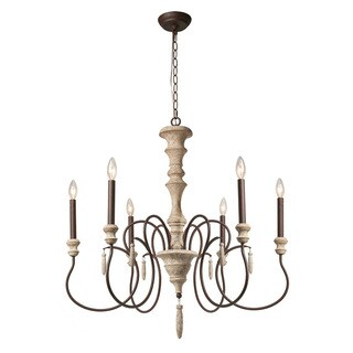LNC 6-Light Shabby Chic French Country Wooden Chandelier Lighting Rustic Chandeliers Pendant Lights