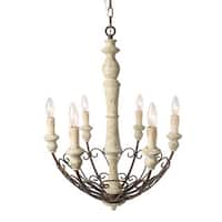 LNC 6-Light Rustic Chandelier Lighting Shabby Chic French Country Wooden Chandeliers Bowl Pendant Lights