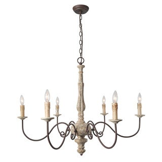 LNC Country Off-white Metal/Wood 6-light Rustic Chandelier