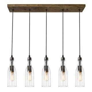 LNC Wood Pendant Lighting 5 Light Ceiling Lights Linear Chandelier Lighting
