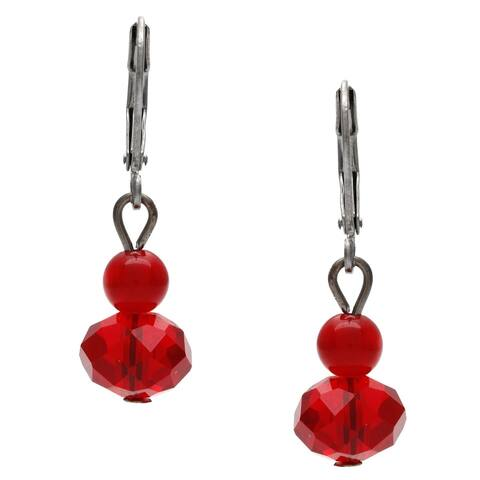 Silvertone Faceted Red Glass Bead Double Drop Earrings