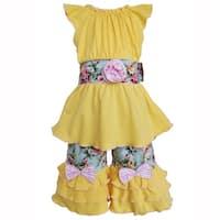 AnnLoren Girls Yellow Cotton Tunic & Spring Floral Capri Set Clothing