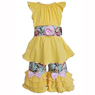 AnnLoren Girls Yellow Cotton Tunic & Spring Floral Capri Set Clothing