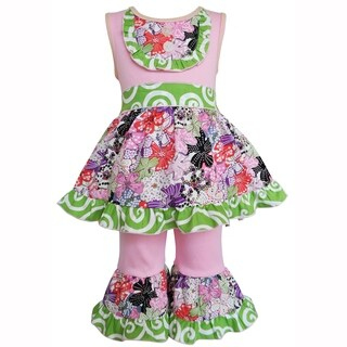 AnnLoren Girls Pink & Purple Multicolor Floral Dress & Capri Outfit (More options available)