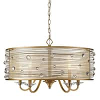 Joia Peruvian Goldtone Steel 5-light Chandelier With Sheer Filigree Shade