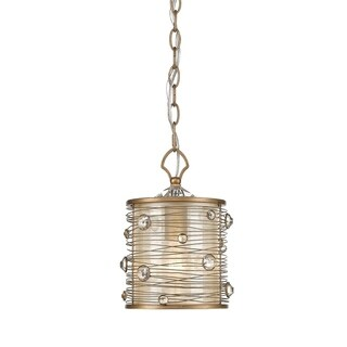 Joia Mini Pendant in Peruvian Gold with a Sheer Filigree Mist Shade