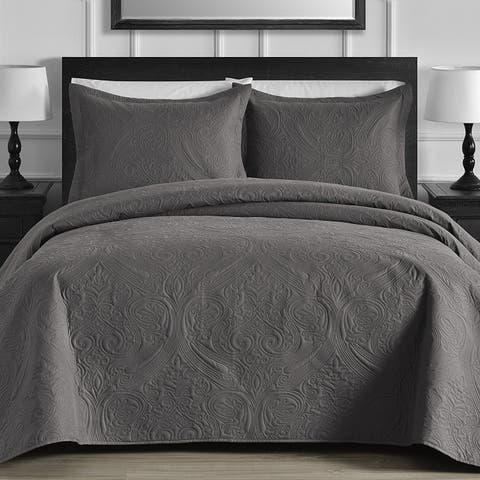 Kotter Home Lightweight Damask 3-Piece Quilt / Coverlet Set