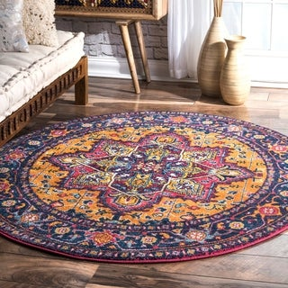 nuLOOM Persian Medallion Orange Round Rug (5' Round)