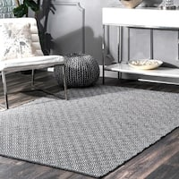 nuLOOM Handmade Flatweave Diamond Cotton Black Rug - 6' x 9'