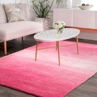 nuLoom Solid Ombre Pink/Off-white Contemporary Handmade Modern Rug (6' x 9')