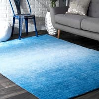 nuLoom Solid Ombre Blue/Off-white Contemporary Handmade Modern Rug (6' x 9') - 6' x 9'