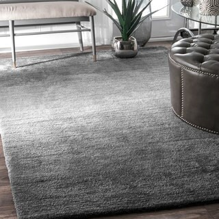 nuLOOM Contemporary Handmade Modern Solid Ombre Grey Rug (6' x 9')