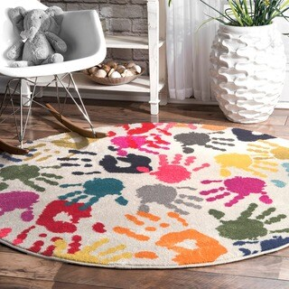 nuLOOM Contemporary Handprint Collage Multicolored Round Rug (5')