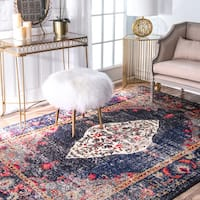 "nuLOOM Traditional Distressed Medallion Navy Round Rug (5' 3"" Round)"