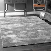 Maison Rouge Abani Handmade Abstract Distressed Viscose Grey Area Rug - 7'6 x 9'6