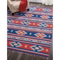 Nourison Baja Reversible Blue Red Area Rug - 8' x 10'