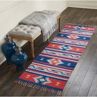 "Nourison Baja Reversible Blue Red Runner Rug (2'3 X 7'6) - 2'3"" x 7'6"" Runner"