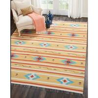 "Nourison Baja Reversible Yellow Area Rug - 6'6"" x 9'6"""