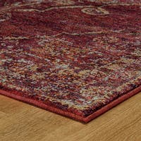 """Antiqued Traditional Medallion Red/ Gold Rug - 10' x 13'2"""""""