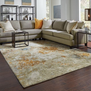 Carson Carrington Albertslund Marble Gold and Beige Rug - 10' x 13'2""