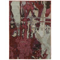 Bordeaux Canvas Red/Beige Area Rug (10'X13'2) - 10' x 13'2""