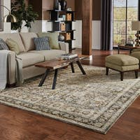 Gracewood Hollow Faded Classic Border Green/ Brown Rug - 10' x 13'2""