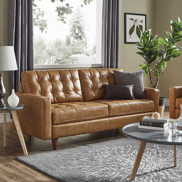Shop odin caramel leather gel sofa by inspire q modern Living room furniture b q
