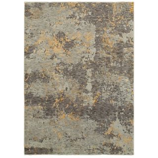 """Marbled Stone Grey and Golden Abstract Area Rug (10'X13'2) - 10' x 13'2"""""""