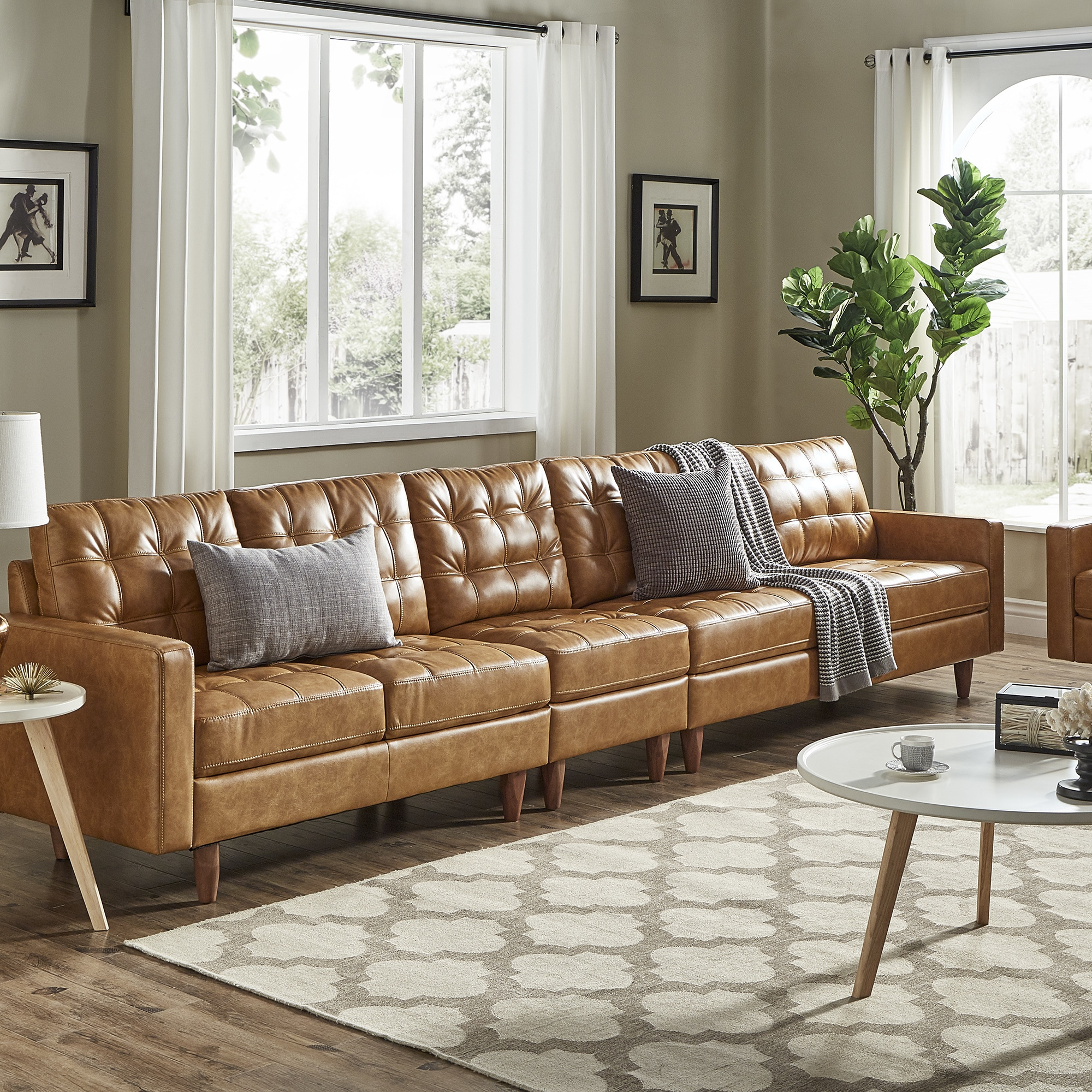 - Shop Odin Caramel Leather Gel Extra Long Sofas By INSPIRE Q Modern