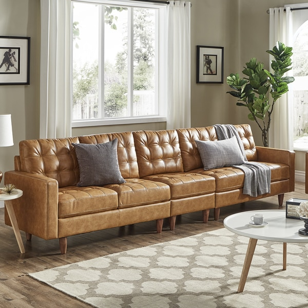 Shop Odin Caramel Leather Gel Extra Long Sofas By Inspire