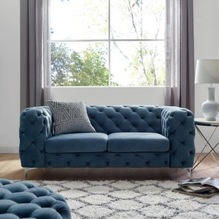 Corvus Aosta Tufted Velvet Chesterfield Loveseat