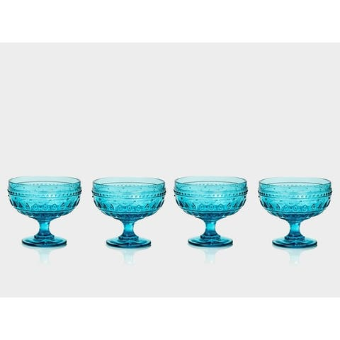 Euro Ceramica Fez 13-Ounce Footed Compote Glasses (Set of 4) - N/A