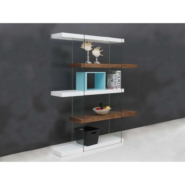 Shop IL VETRO High Gloss White / Walnut Veneer Bookcase By